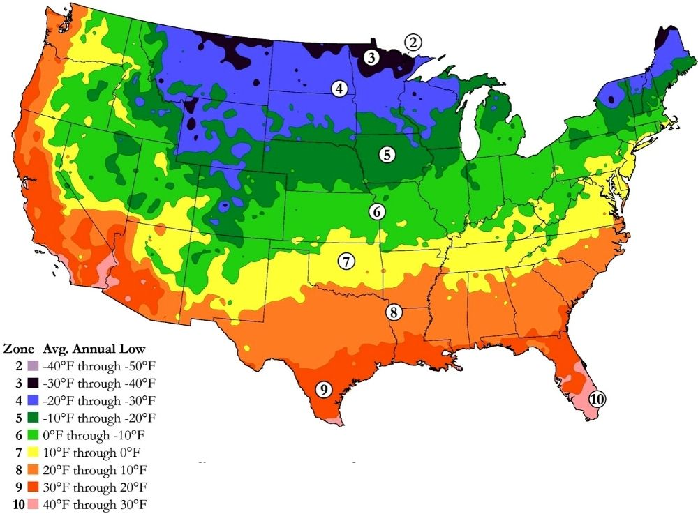 Growing Zones Planting Zones USA Map